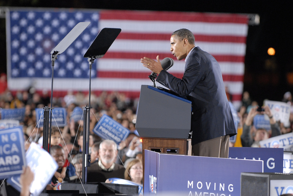 President Barack Obama addresses the crowd of 35,000 at the rally on Ohio State's campus in Columbus, Ohio, Sunday, Oct. 17, 2010.