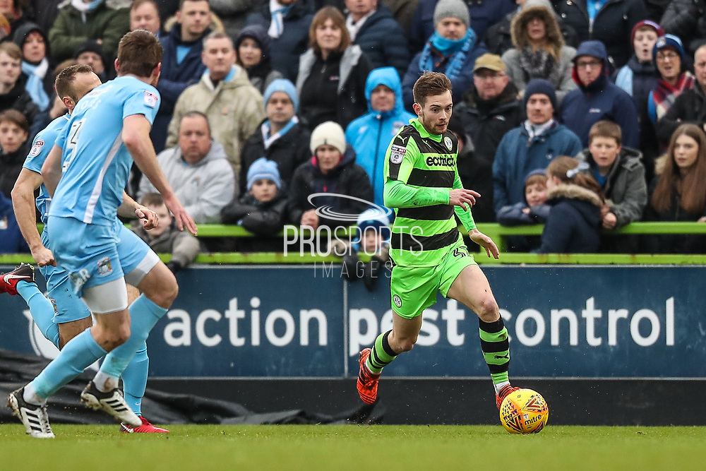 Forest Green Rovers Alex Bray(31) runs forward during the EFL Sky Bet League 2 match between Forest Green Rovers and Coventry City at the New Lawn, Forest Green, United Kingdom on 3 February 2018. Picture by Shane Healey.