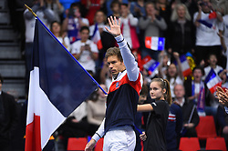 Nicolas Mahut (FRA) before double at the Davis Cup first round tie against Netherlands, in Albertville, halle Olympique, France on february, 3, 2018. Photo by Corinne Dubreuil/ABACAPRESS.COM