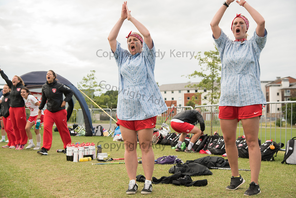 Swiss coaches celebrate beating Mexico at the 2017 FIL Rathbones Women's Lacrosse World Cup at Surrey Sports Park, Guilford, Surrey, UK, 15th July 2017