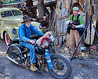 Old Man Riding a Harley. Gold King Mine and Ghost Town. Junk Yard and Tourist Trap. Image taken with a Nikon D800 camera and 35 mm f/1.4 lens.
