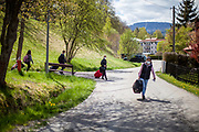 Three woman and one man who arrived by train at the closed state border in between Germany and Czech Republic are trying to cross the border by feet. At Bayerisch Einsenstein after the corona virus outbreak changed our public lifes. Czech Republic is in the state of emergency and just their own citizens or foreigners with a residence permit are allowed to enter.