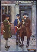 Samuel Johnson (1709-1784) English author and lexicographer talking to Oliver Goldsmith (1724-1774), English author.  Illustration by Joseph Ratcliffe Skelton (active1888-1927).