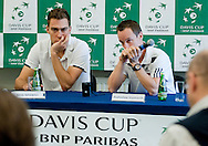(L) Jerzy Janowicz & (R) Radoslaw Szymanik - captain national team both of Poland while press conference after lost game during the BNP Paribas Davis Cup 2014 between Poland and Croatia at Torwar Hall in Warsaw on April 6, 2014.<br /> <br /> Poland, Warsaw, April 6, 2014<br /> <br /> Picture also available in RAW (NEF) or TIFF format on special request.<br /> <br /> For editorial use only. Any commercial or promotional use requires permission.<br /> <br /> Mandatory credit:<br /> Photo by © Adam Nurkiewicz / Mediasport