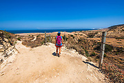 Hiker at Water Canyon, Santa Rosa Island, Channel Islands National Park, California USA