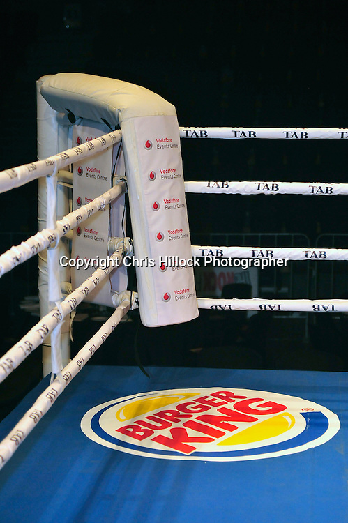 Sponsors Vodaphone Events Centre. Boxing   - Burger King Road to the Title - Parker v Pettaway, Vodafone Events Centre, 5 March 2015 copyright photo Chris Hillock/www.photosport.co.nz