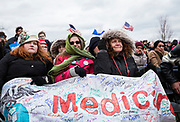 Supporters cheer during a rally for Democratic 2020 presidential candidate Bernie Sanders at James Madison Park in Madison, WI on Friday, April 12, 2019.