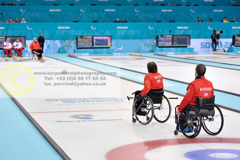 Gregor Ewan, Aileen Neilson, Marat Romanov, Andrey Smirnov, Wheelchair Curling Semi Finals at the 2014 Sochi Winter Paralympic Games, Russia