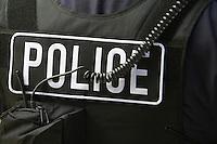 Close-up of police bulletproof vest