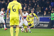Nabil Fekir of Lyon and Carlos Bacca of Villarreal during the UEFA Europa League, Round of 32, 1st leg football match between Olympique Lyonnais and Villarreal on February 15, 2018 at Groupama stadium at Decines-Charpieu near Lyon, France - Photo Romain Biard / Isports / ProSportsImages / DPPI
