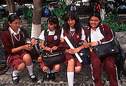 MEXICO, CUERNAVACA highschool students in Plaza de Armas