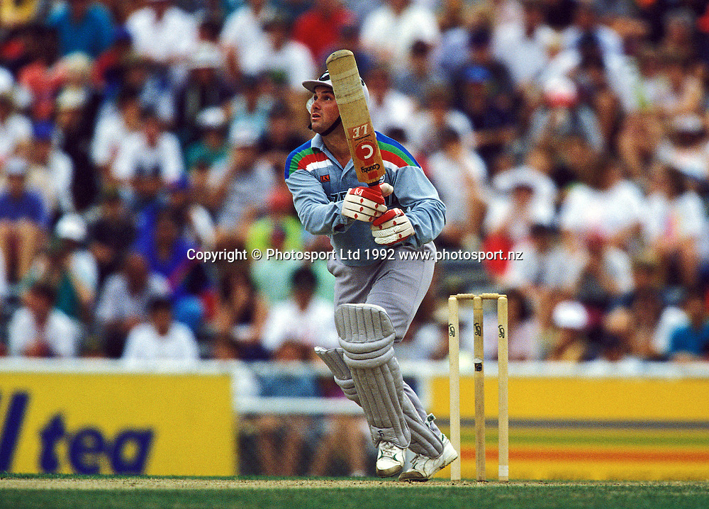 Rod Latham in action, One day international cricket, 1992 World Cup. New Zealand Black Caps v West Indies. Eden Park, Auckland, 8 March 1992. Photo: PHOTOSPORT