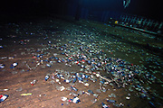 Litter strewn dancefloor inside the main tent at Dance Valley, Holland, August, 2002