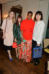 Left to right, DAISY DE VILLENEUVE, REBEKAH ROY, SUSAN BENDER and ROSE BLAKE at a dinner hosted by Kate Spade NY to celebrate Chelsea in Bloom held at Daphne's, 112 Draycott Avenue, London on 20th May 2015.