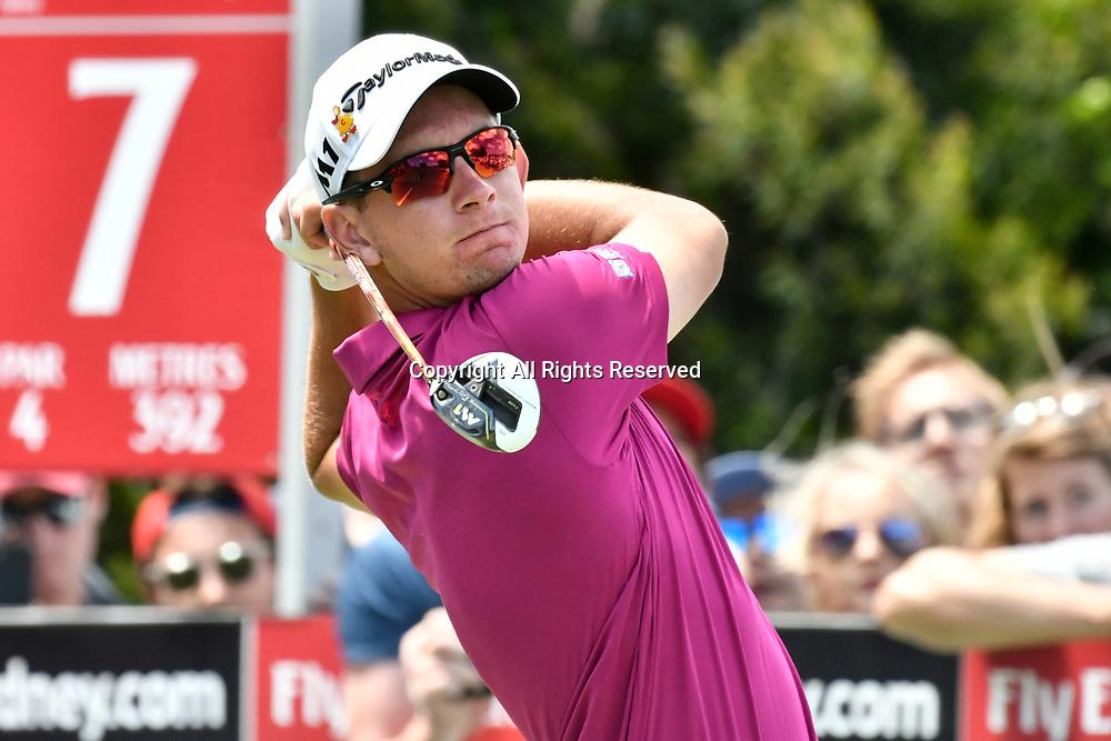 26th November 2017, The Australian Golf Club, Sydney, Australia;  Emirates Australian Open Golf, final round; Lucas Herbert (AUS) hits a tee shot on the 7th hole