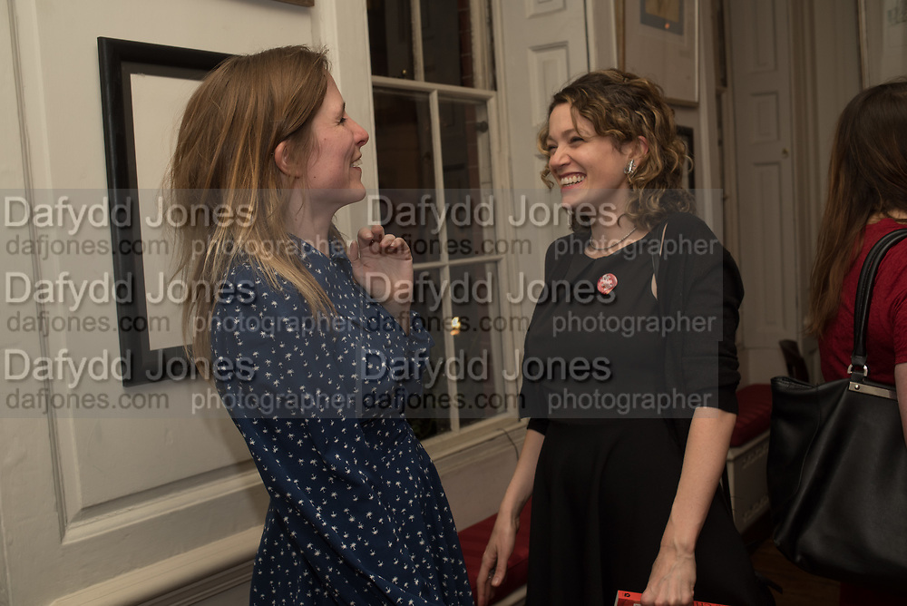 GRACE PILKINGTON: ANNA STOTHARD; , The launch of Fire Child by Sally Emerson. Hosted by Sally Emerson and Naim Attalah CBE. Dean St. London. 22 March 2017