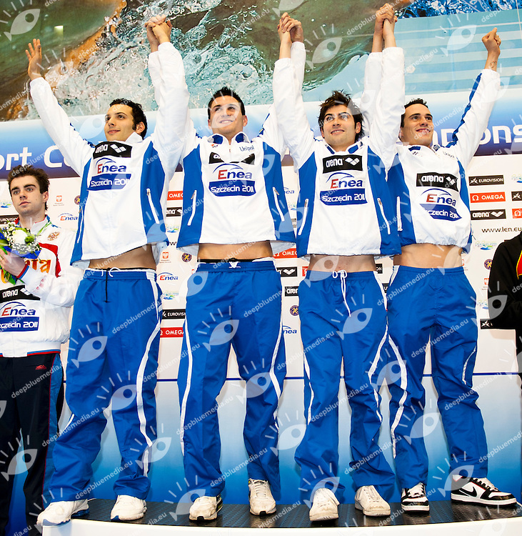 Szczecin Poland - Stettino Polonia POL country Dec.8 - 12 2011 <br /> European Swimming Short Course Championships<br /> Swimming Nuoto -Day 01 Final<br /> 4x50 Medley relay M ITA<br /> from left to right<br /> Mirco Di Tora, Marco Orsi, Paolo Facchinelli, Fabio Scozzoli<br /> <br /> G.Scala/Watering Photo/Deepbluemedia.eu