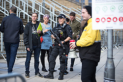 September 9, 2017 - Manchester, Greater Manchester, UK - Manchester , UK . Armed police patrolling on Hunts Bank , outside the venue . We Are Manchester reopening charity concert at the Manchester Arena with performances by Manchester artists including  Noel Gallagher , Courteeners , Blossoms and the poet Tony Walsh . The Arena has been closed since 22nd May 2017 , after Salman Abedi's terrorist attack at an Ariana Grande concert killed 22 and injured 250 . Money raised will go towards the victims of the bombing  (Credit Image: © Joel Goodman/London News Pictures via ZUMA Wire)
