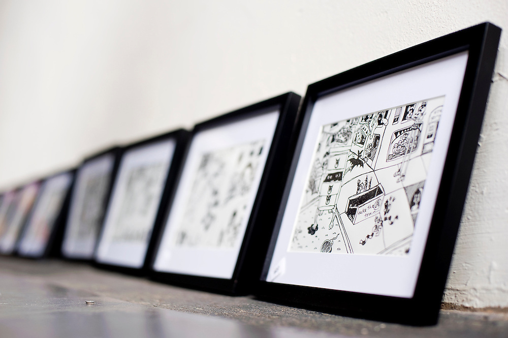 110812       Brian Leddy.Rossi Bright's ink drawings will be on display Crashing Thunder during this month's ArtsCrawl.
