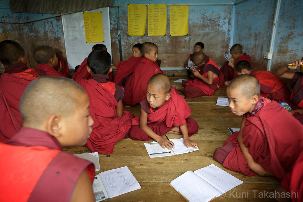Young monks study at Dechen Phodrang monastic school in Thimpu, Bhutan on August 13, 2014. The monastery, which became a school in 1971, has a few hundred student monks enrolled in eight-year courses. <br /> (Photo by Kuni Takahashi)