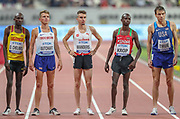 Oscar Chelimo (Uganda), Andrew Butchart (Great Britain), Julien Wanders (Switzerland), Jacob Krop (Kenya), Ben True (USA) before Heat 1 of the 5000 metres Man, Round 1, during the 2019 IAAF World Athletics Championships at Khalifa International Stadium, Doha, Qatar on 27 September 2019.