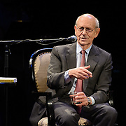 NHPR's Virginia Prescott interviews US Supreme Court Justice Stephen Breyer during a Writers on a New England Stage show at The Music Hall in Portsmouth, NH