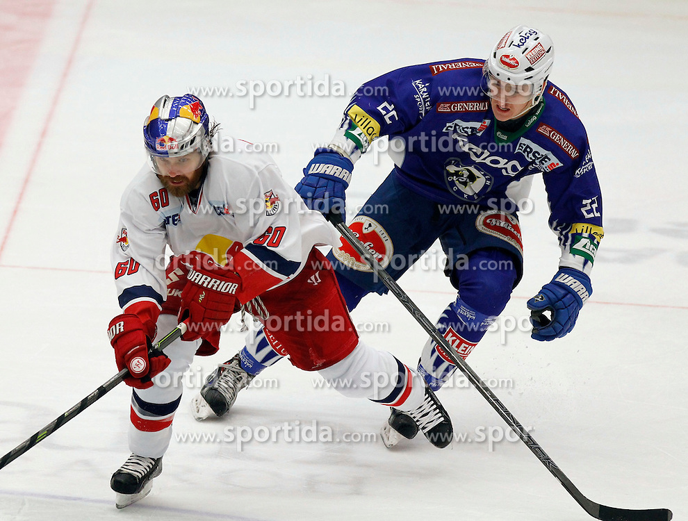 17.02.2015, Stadthalle, Villach, AUT, EBEL, EC VSV vs EC Red Bull Salzburg, Plazierungsrunde, im Bild v.l.Troy Milam (EC RBS) und Adis Alagic (VSV) // during the Erste Bank Icehockey League placement round match between EC VSV vs EC Red Bull Salzburg at the City Hall in Villach, Austria on 2015/02/17, EXPA Pictures © 2015, PhotoCredit: EXPA/ Oskar Hoeher