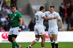 Joe Marchant of England U20 is congratulated on his try - Mandatory byline: Patrick Khachfe/JMP - 07966 386802 - 25/06/2016 - RUGBY UNION - AJ Bell Stadium - Manchester, England - England U20 v Ireland U20 - World Rugby U20 Championship Final 2016.