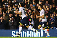 Etienne Capoue of Tottenham Hotspur (left) celebrates scoring his team's second goal against Burnley to make it 2-2 with Benjamin Stambouli of Tottenham Hotspur (right) during the FA Cup match at White Hart Lane, London<br /> Picture by David Horn/Focus Images Ltd +44 7545 970036<br /> 14/01/2015