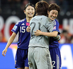 17.07.2011, Commerzbankarena, Frankfurt, GER, FIFA Women Worldcup 2011, Finale,  Japan (JPN) vs. USA (USA), im Bild:  .Torjubel / Jubel  nach dem 2:2 durch Homare Sawa (Japan). es feiern Aya Sameshima (Japan), Ayumi Kaihori (Japan) und Yukari Kinga (Japan).. // during the FIFA Women Worldcup 2011, final, Japan vs USA on 2011/07/11, FIFA Frauen-WM-Stadion Frankfurt, Frankfurt, Germany.   EXPA Pictures © 2011, PhotoCredit: EXPA/ nph/  Mueller       ****** out of GER / CRO  / BEL ******