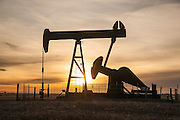 Oil jack pumping oil in northern Colorado.