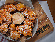Sweet corn fritters with baconaise at Himmarshee Public House in Ft. Lauderdale, Florida.  Photography By Jeffrey A McDonald