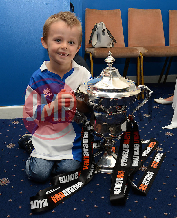 A Bristol Rovers fan with the Vanarama Conference Play-Off final Cup - Mandatory by-line: Dougie Allward/JMP - 07966386802 - 26/07/2015 - SPORT - FOOTBALL - Bristol,England - Memorial Stadium - Bristol Rovers Open Day - Bristol Rovers Open Day