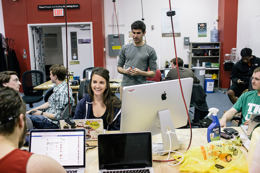 Members of Startup Shell, work on various projects at the Startup Shell headquarters on the University of Maryland campus on April 1, 2015. Startup Shell is a not for profit company run entirely by and for students at UMD. Entrepreneurial students from all different disciplines apply to join and if accepted, can work on their innovative project with others collaborating and teaching one another.