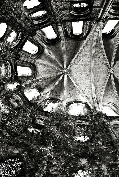 Ceiling of the Abbey of Villers-la-Ville in Wallonia, Belgium in black and white