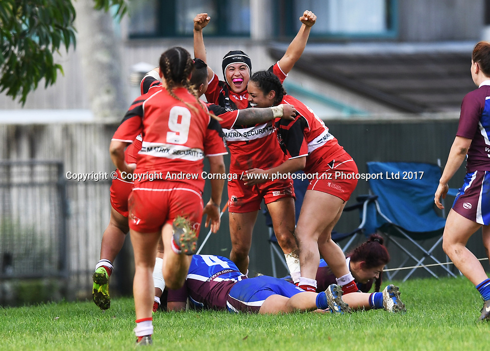 Players celebrate a late try in the corner to win the match.<br /> Akarana v Counties Manukau Grand Final. NZRL National Women's Tournament finals day, Cornwall Park Auckland. Monday 5 June 2019. &copy; Copyright photo: Andrew Cornaga / www.photosport.nz