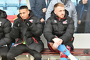 Scunthorpe United defender Jordan Clarke (33) and Scunthorpe United striker Paddy Madden (9) sit on bench during the EFL Sky Bet League 1 match between Scunthorpe United and Oxford United at Glanford Park, Scunthorpe, England on 26 November 2016. Photo by Ian Lyall.