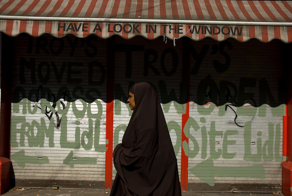 A woman wearing a burkha on Moore Street, Dublin, Ireland.