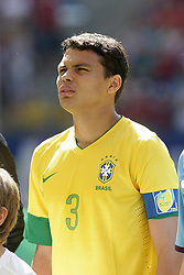 26.05.2012, Imtech Arena, Hamburg, GER, UEFA EURO 2012, Testspiel, Daenemark vs Brasilien, im Bild THIAGO SILVA (BRA) // during the Preparation Game for the UEFA Euro 2012 betweeen Danmakr and Brasil at the Imtech Arena, Hamburg, Germany on 2012/05/26. EXPA Pictures © 2012, PhotoCredit: EXPA/ Eibner/ Andre Latendorf..***** ATTENTION - OUT OF GER *****