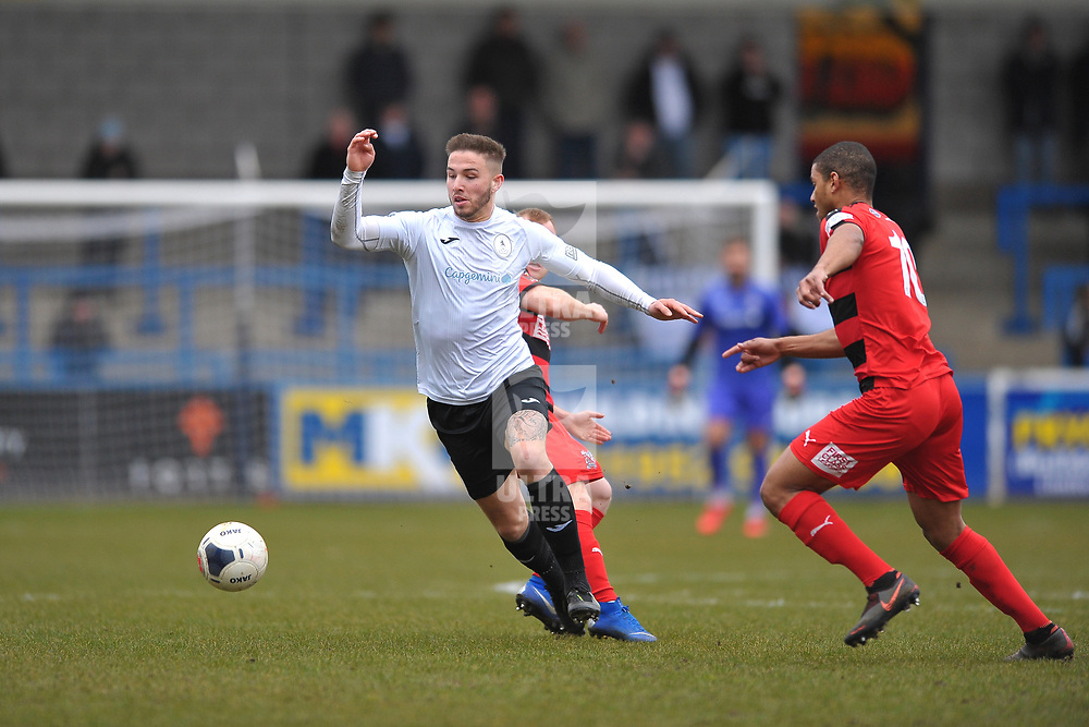 TELFORD COPYRIGHT MIKE SHERIDAN Zak Lilly of Telford  during the Vanarama Conference North fixture between AFC Telford United and Darlington at The New Bucks Head on Saturday, March 7, 2020.<br /> <br /> Picture credit: Mike Sheridan/Ultrapress<br /> <br /> MS201920-049