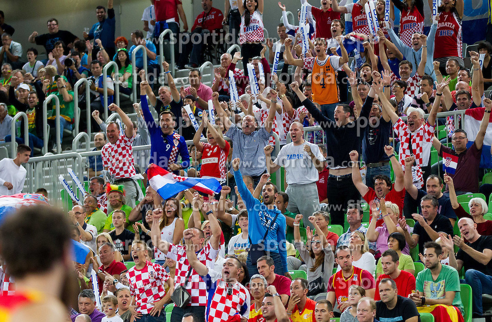 Fans of Croatia during basketball match between National teams of Spain and Croatia in 3rd Place game at Day 19 of Eurobasket 2013 on September 22, 2013 in Arena Stozice, Ljubljana, Slovenia. (Photo by Vid Ponikvar / Sportida)
