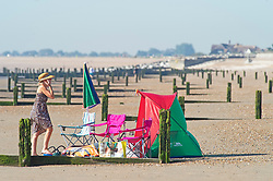 ©Licensed to London News Pictures 07/08/2020   <br /> St Mary's Bay, UK. An early riser all set up for a day at the beach. St Mary's Bay in Kent on the south coast is already starting to hot up with people arriving for a day on the beach. Scorching hot weather today in the UK as the heatwave weather looks set to continue into next week. Today could be one of the hottest on record if not the hottest. Photo credit: Grant Falvey/LNP