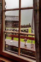 THEMENBILD - Blick aus dem Fenster auf Blumen im Regen. Die bewirtschaftete Alm, wo rund 800 Schafe und 55 Milchkühe im Sommer sind, besteht seit dem Jahre 1779 und wird von der Familie Aberger Dick geführt, Sie liegt unmittelbar bei den Kapruner Hochgebirgsstauseen, aufgenommen am 16. Juni 2017, Fürthermoar Alm, Kaprun, Österreich // Looking out the window on flowers in the rain. The Fuerthermoar Alm, where around 800 sheep and 55 dairy cows are in summer and is directly next to the Kaprun Hochgebirgsausauseen. The Mountain Hut exists since 1779 and is owned by the family Aberger Dick, taken on 2017/06/16, Kaprun, Austria. EXPA Pictures © 2017, PhotoCredit: EXPA/ JFK