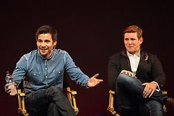 © licensed to London News Pictures. London, UK 31/10/2012. Downton Abbey stars Rob James-Collier (left) and Allen Leech (right) speaking to their fans at Apple Store during a Meet the Cast event on Regent Street, London on 31/10/12. Photo credit: Tolga Akmen/LNP