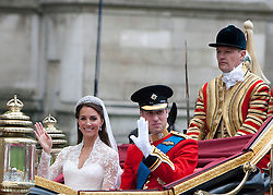 London, UK  29/04/2011. The Royal Wedding of HRH Prince William to Kate Middleton. Kate Middleton leaves Westminster Abbey. Photo credit should read LNP. Please see special instructions. © under license to London News Pictures