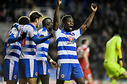 Reading defender Andy Yiadom (3) celebrates their second goal during the EFL Sky Bet Championship match between Reading and Nottingham Forest at the Madejski Stadium, Reading, England on 12 January 2019.