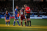 Referee S Oldham has a word with Bradford City's Paul Caddis (38) before issuing a yellow card during the EFL Sky Bet League 1 match between Peterborough United and Bradford City at The Abax Stadium, Peterborough, England on 17 November 2018.