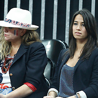 04 August 2012: Pamela Firestone, mother of France Tony Parker, and Axelle, Tony Parker's girlfriend are seen during 73-69 Team France victory over Team Tunisia, during the men's basketball preliminary, at the Basketball Arena, in London, Great Britain.