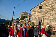 Saint antoine, procession in Zonza  in south corsica - France    /   procession de saint Antoine de padoue a Zonza  Corse du sud - France