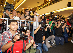 KUALA LUMPUR, MALAYSIA - Wednesday, July 22, 2015: Local media during an event at the Mid Valley Mega Mall on day ten of the club's preseason tour. (Pic by David Rawcliffe/Propaganda)